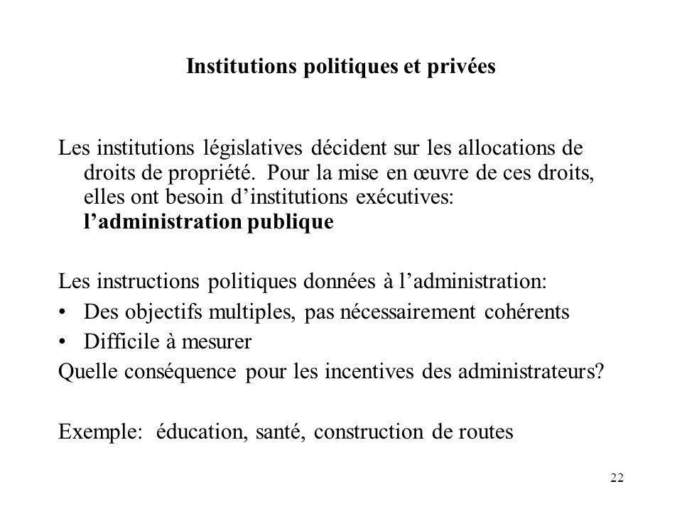 22 Institutions politiques et privées Les institutions législatives décident sur les allocations de droits de propriété. Pour la mise en œuvre de ces