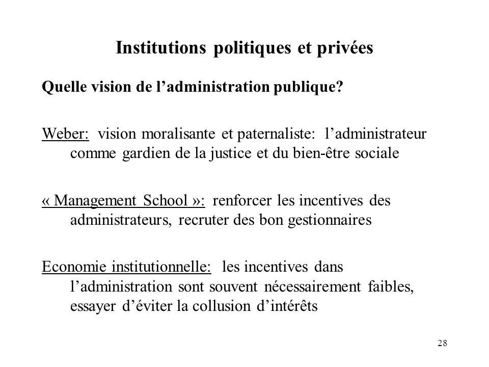 28 Institutions politiques et privées Quelle vision de ladministration publique? Weber: vision moralisante et paternaliste: ladministrateur comme gard
