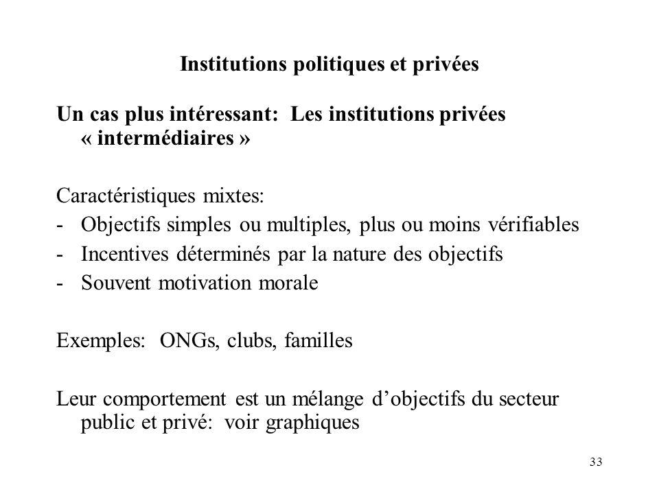 33 Institutions politiques et privées Un cas plus intéressant: Les institutions privées « intermédiaires » Caractéristiques mixtes: -Objectifs simples