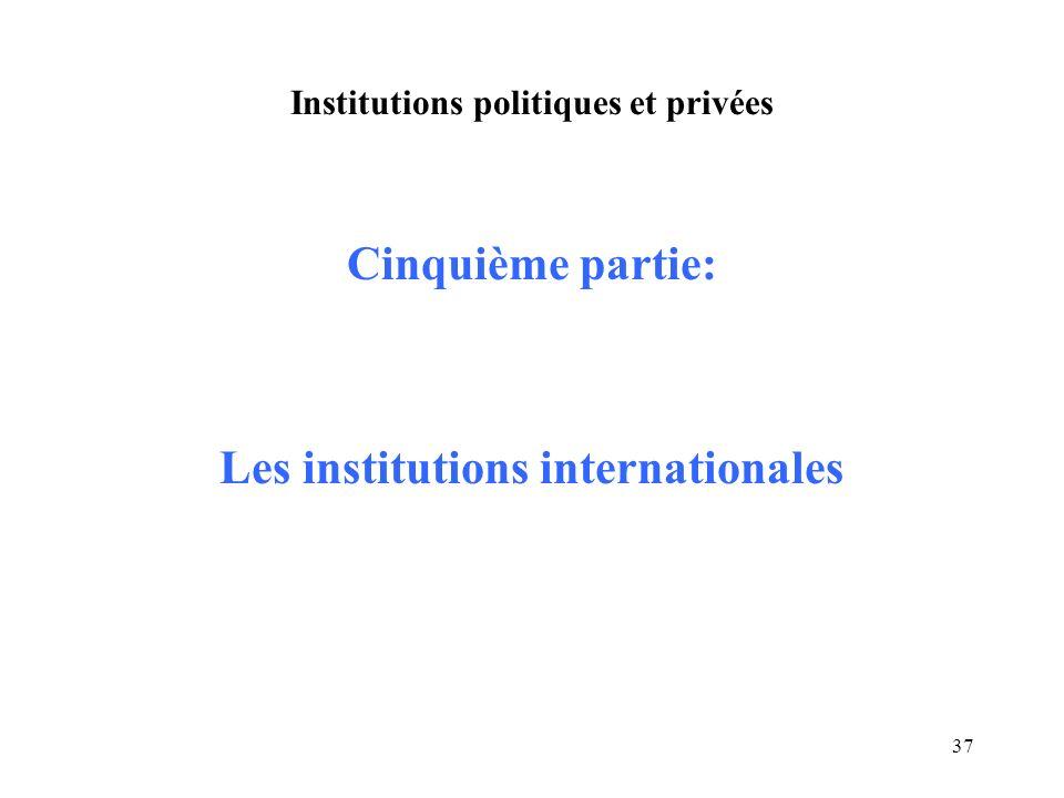 37 Institutions politiques et privées Cinquième partie: Les institutions internationales