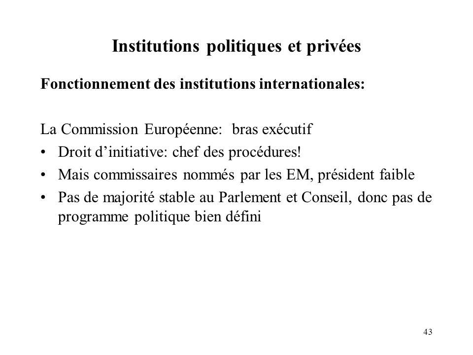 43 Institutions politiques et privées Fonctionnement des institutions internationales: La Commission Européenne: bras exécutif Droit dinitiative: chef