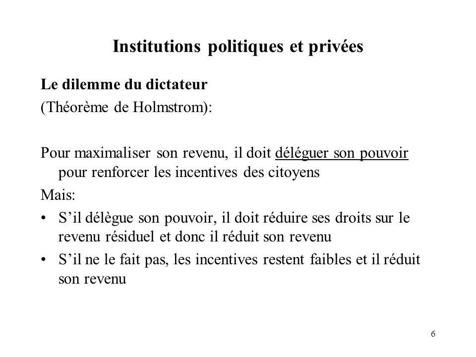 6 Institutions politiques et privées Le dilemme du dictateur (Théorème de Holmstrom): Pour maximaliser son revenu, il doit déléguer son pouvoir pour r