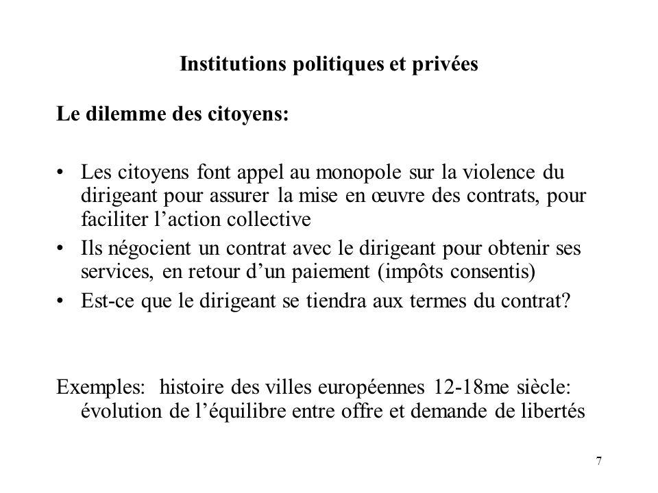 7 Institutions politiques et privées Le dilemme des citoyens: Les citoyens font appel au monopole sur la violence du dirigeant pour assurer la mise en