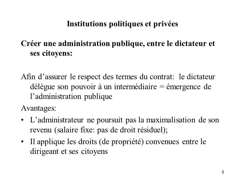 8 Institutions politiques et privées Créer une administration publique, entre le dictateur et ses citoyens: Afin dassurer le respect des termes du con
