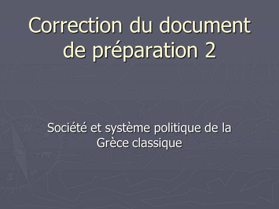 Correction du document de préparation 2 Société et système politique de la Grèce classique