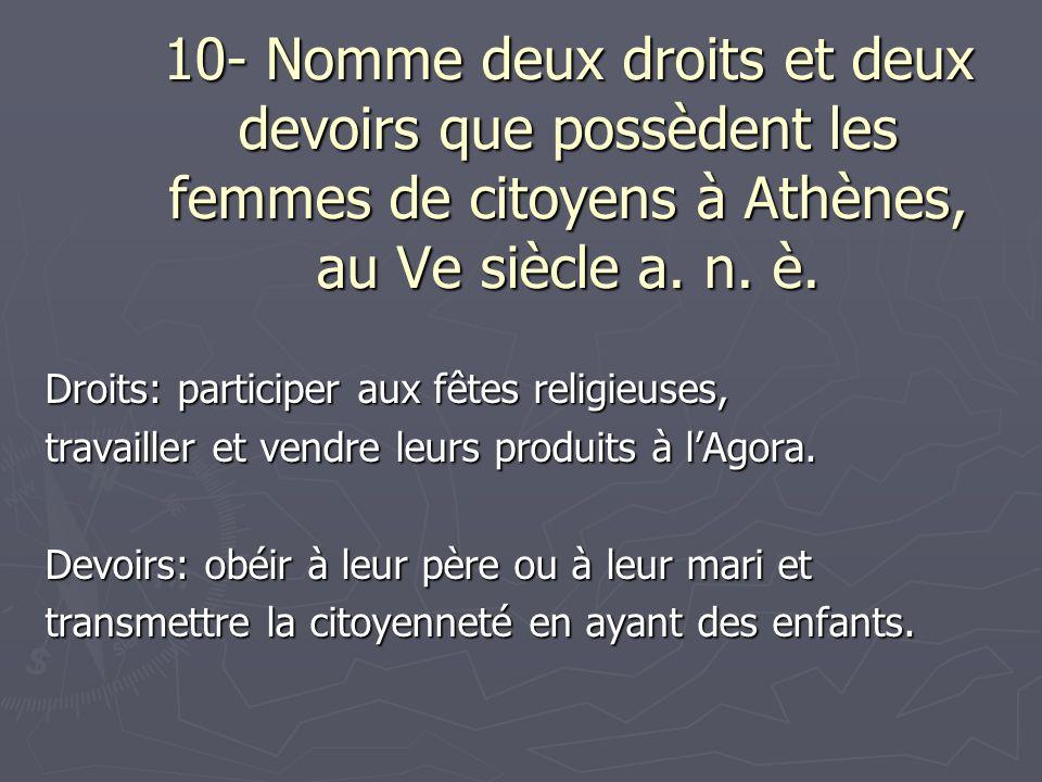 10- Nomme deux droits et deux devoirs que possèdent les femmes de citoyens à Athènes, au Ve siècle a. n. è. Droits: participer aux fêtes religieuses,