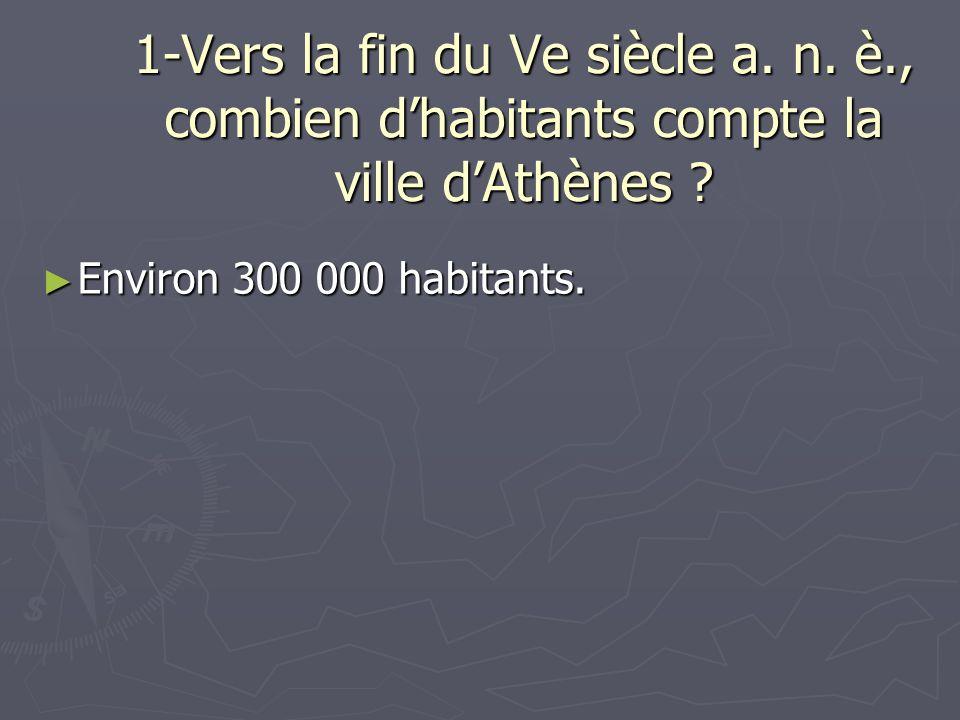 1-Vers la fin du Ve siècle a. n. è., combien dhabitants compte la ville dAthènes ? Environ 300 000 habitants. Environ 300 000 habitants.