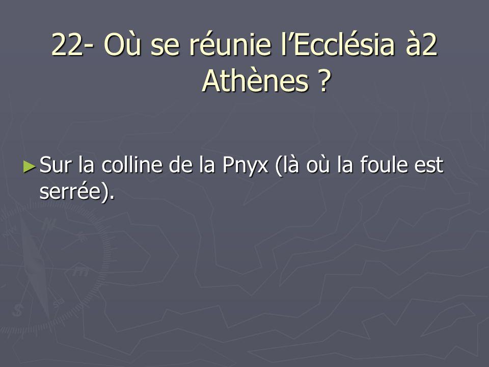22- Où se réunie lEcclésia à2 Athènes ? Sur la colline de la Pnyx (là où la foule est serrée). Sur la colline de la Pnyx (là où la foule est serrée).