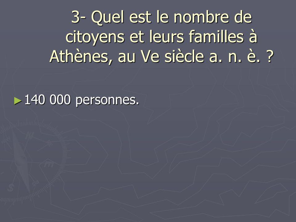 3- Quel est le nombre de citoyens et leurs familles à Athènes, au Ve siècle a. n. è. ? 140 000 personnes. 140 000 personnes.