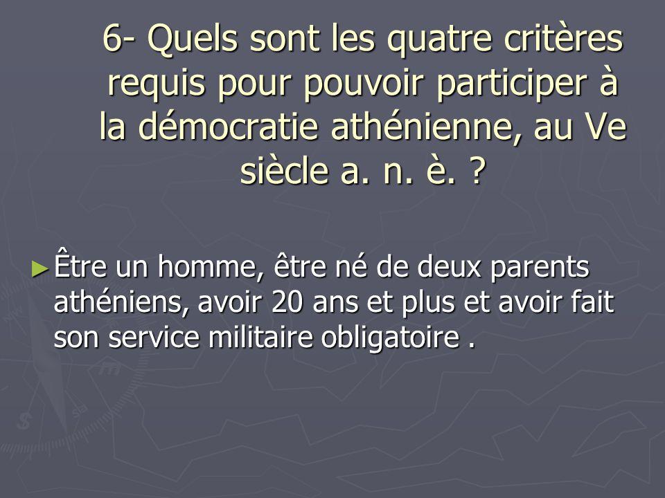6- Quels sont les quatre critères requis pour pouvoir participer à la démocratie athénienne, au Ve siècle a. n. è. ? Être un homme, être né de deux pa