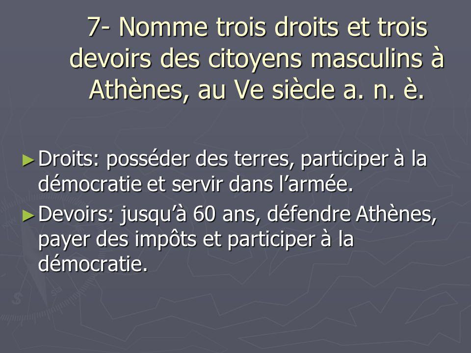 7- Nomme trois droits et trois devoirs des citoyens masculins à Athènes, au Ve siècle a. n. è. Droits: posséder des terres, participer à la démocratie
