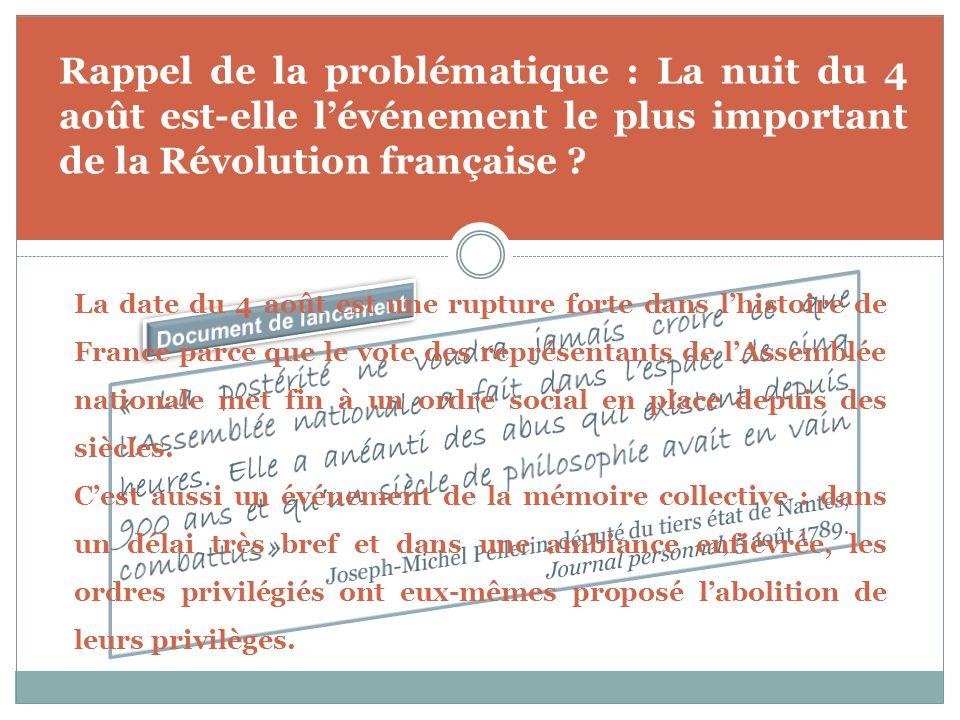 Rappel de la problématique : La nuit du 4 août est-elle lévénement le plus important de la Révolution française ? La date du 4 août est une rupture fo