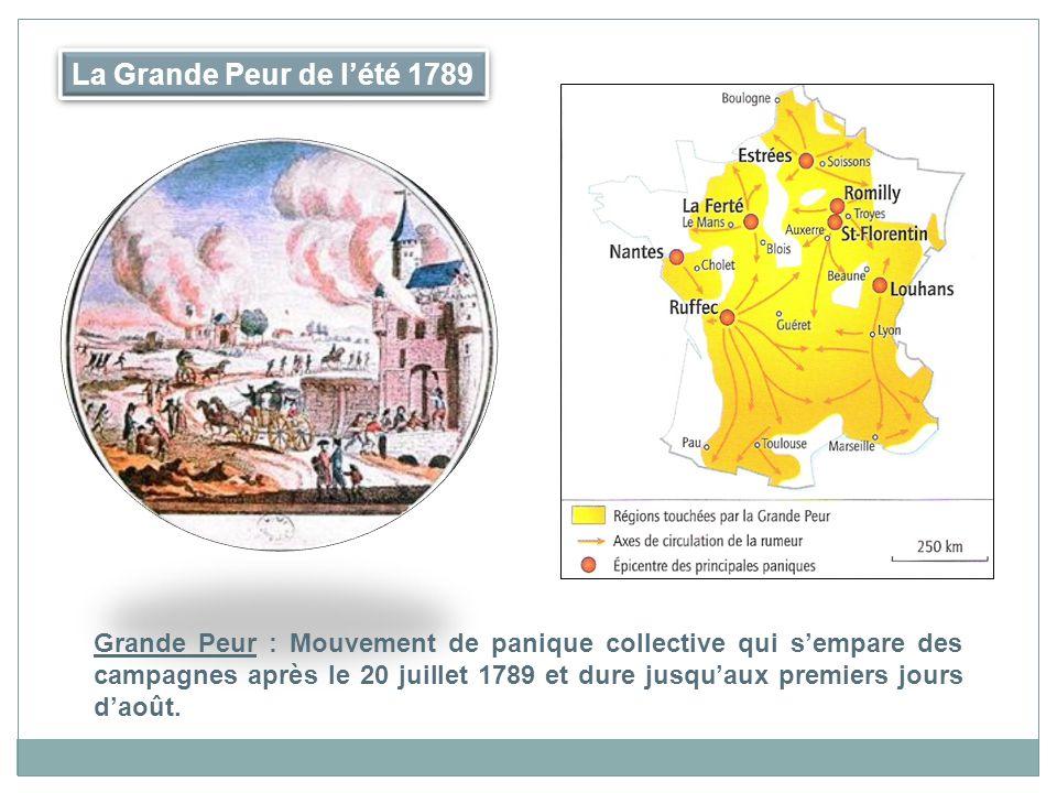 La Grande Peur de lété 1789 Grande Peur : Mouvement de panique collective qui sempare des campagnes après le 20 juillet 1789 et dure jusquaux premiers jours daoût.
