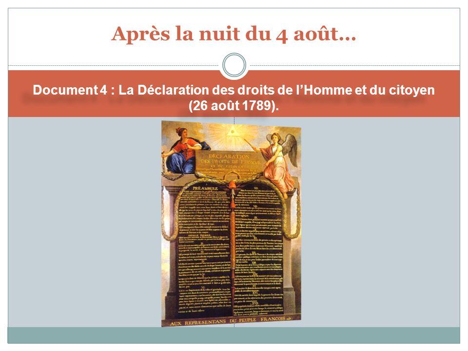 Après la nuit du 4 août… Document 4 : La Déclaration des droits de lHomme et du citoyen (26 août 1789).