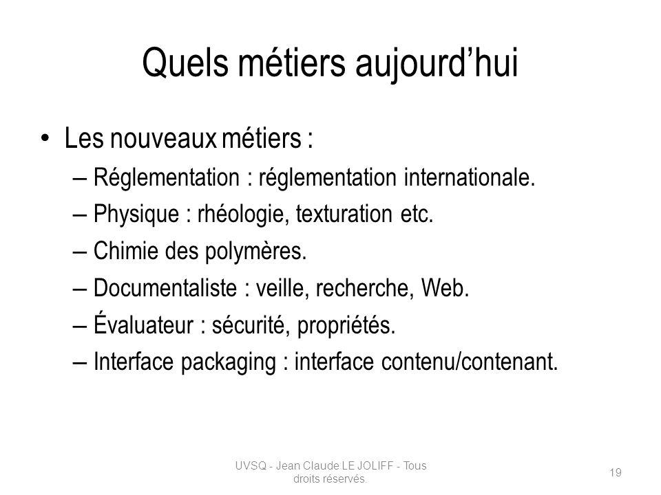 Quels métiers aujourdhui Les nouveaux métiers : – Réglementation : réglementation internationale. – Physique : rhéologie, texturation etc. – Chimie de