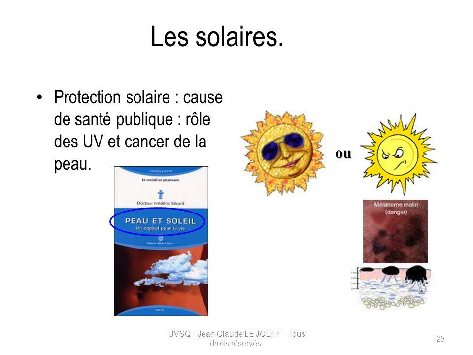 Les solaires. Protection solaire : cause de santé publique : rôle des UV et cancer de la peau. UVSQ - Jean Claude LE JOLIFF - Tous droits réservés. 25