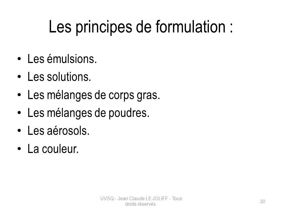 Les principes de formulation : Les émulsions. Les solutions. Les mélanges de corps gras. Les mélanges de poudres. Les aérosols. La couleur. UVSQ - Jea