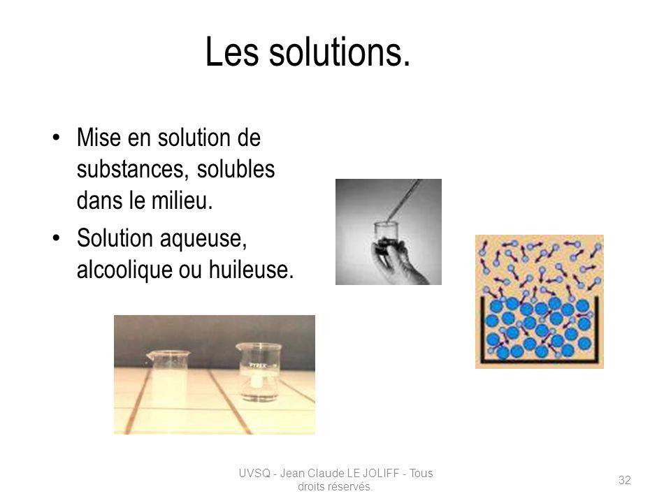 Les solutions. Mise en solution de substances, solubles dans le milieu. Solution aqueuse, alcoolique ou huileuse. UVSQ - Jean Claude LE JOLIFF - Tous