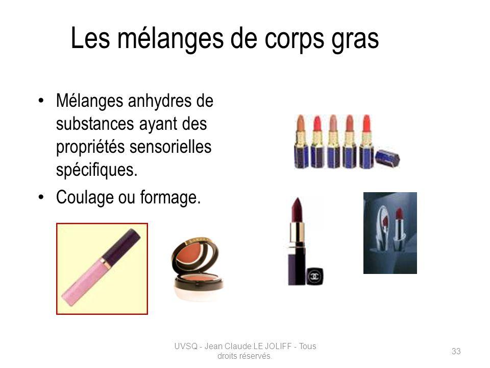 Les mélanges de corps gras Mélanges anhydres de substances ayant des propriétés sensorielles spécifiques. Coulage ou formage. UVSQ - Jean Claude LE JO