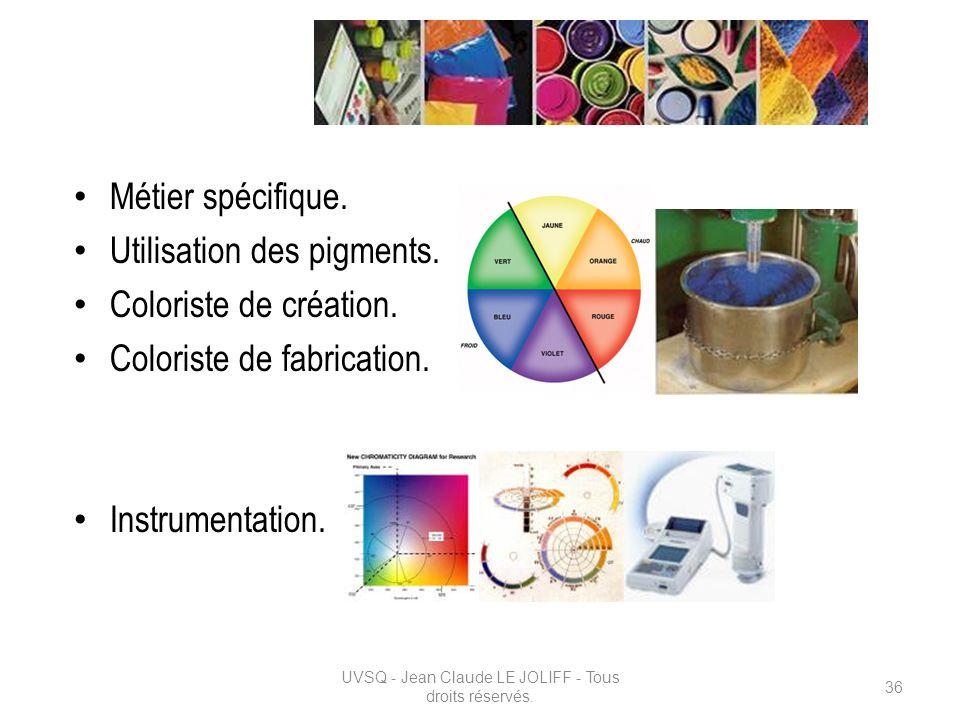 La couleur : Métier spécifique. Utilisation des pigments. Coloriste de création. Coloriste de fabrication. Instrumentation. UVSQ - Jean Claude LE JOLI