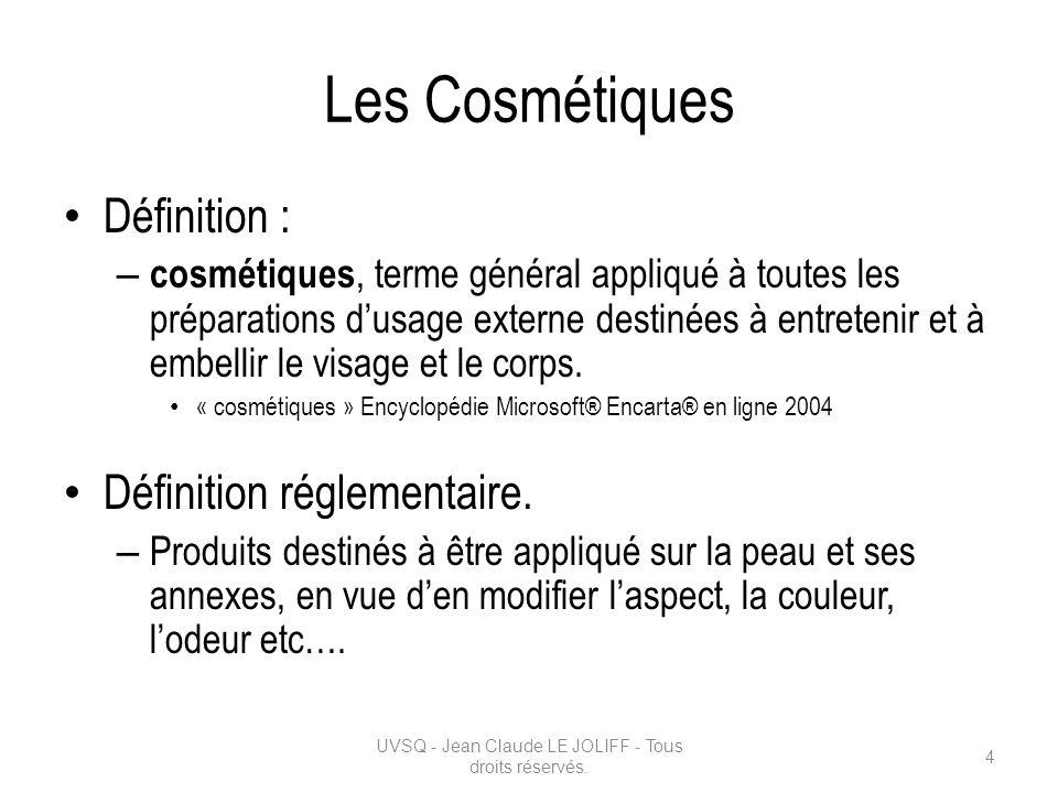 Les Cosmétiques Définition : – cosmétiques, terme général appliqué à toutes les préparations dusage externe destinées à entretenir et à embellir le vi