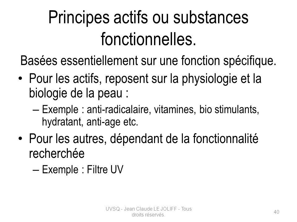 Principes actifs ou substances fonctionnelles. Basées essentiellement sur une fonction spécifique. Pour les actifs, reposent sur la physiologie et la