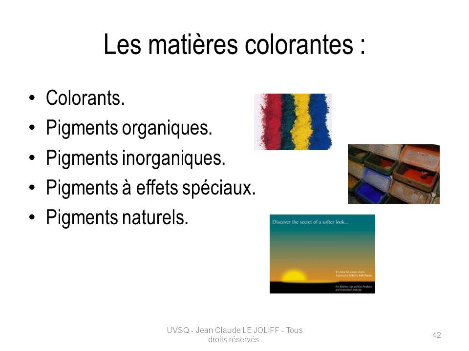 Les matières colorantes : Colorants. Pigments organiques. Pigments inorganiques. Pigments à effets spéciaux. Pigments naturels. UVSQ - Jean Claude LE