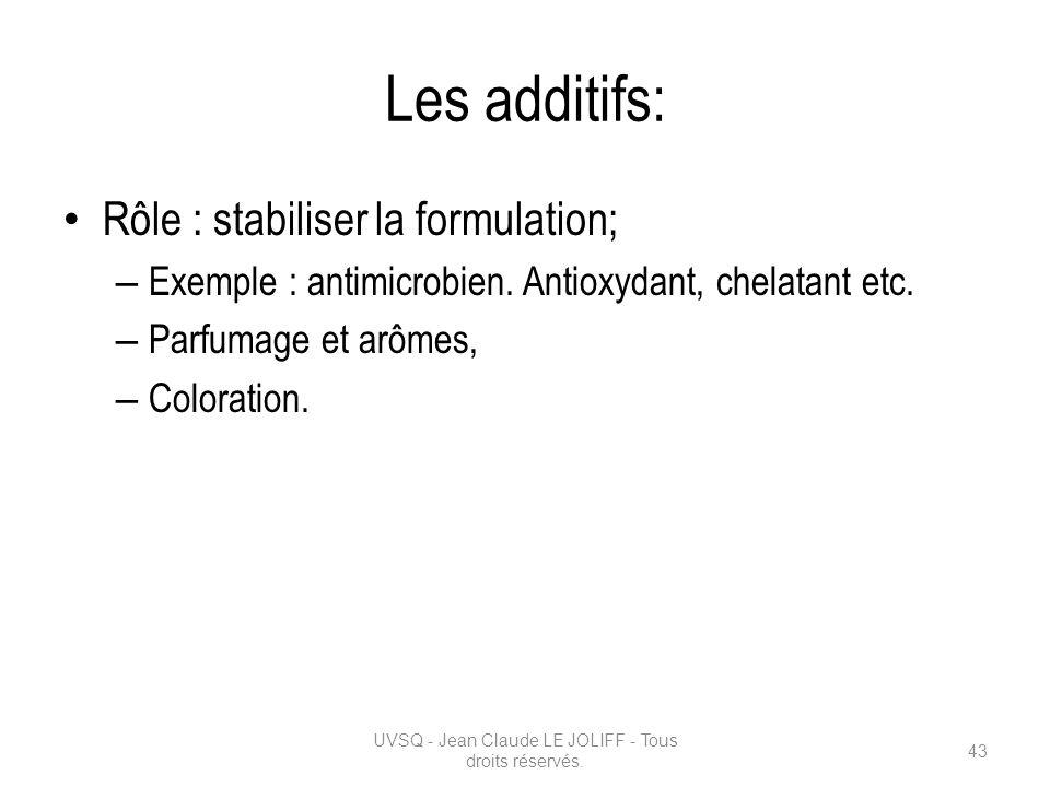 Les additifs: Rôle : stabiliser la formulation; – Exemple : antimicrobien. Antioxydant, chelatant etc. – Parfumage et arômes, – Coloration. UVSQ - Jea