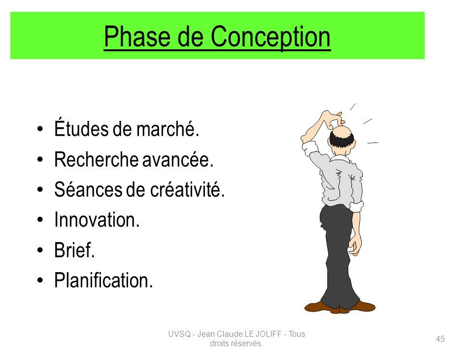 Phase de Conception Études de marché. Recherche avancée. Séances de créativité. Innovation. Brief. Planification. UVSQ - Jean Claude LE JOLIFF - Tous