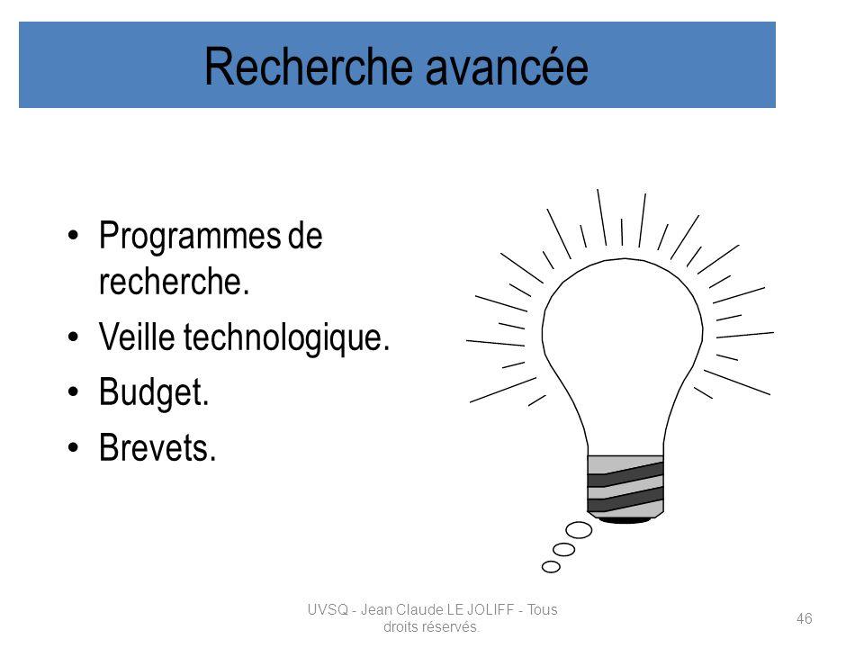 Recherche avancée Programmes de recherche. Veille technologique. Budget. Brevets. UVSQ - Jean Claude LE JOLIFF - Tous droits réservés. 46