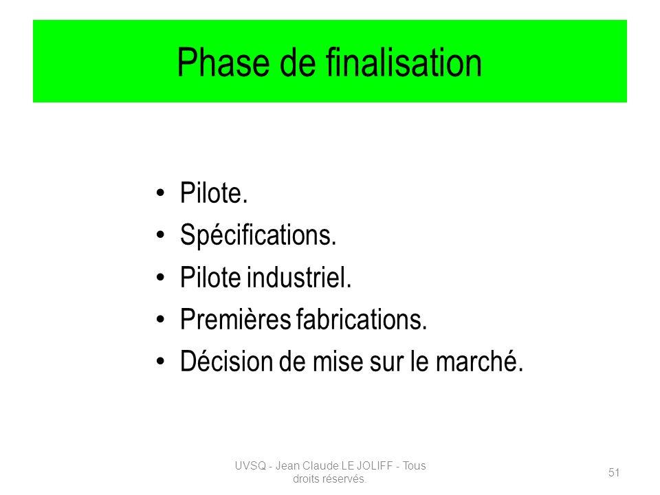 Phase de finalisation Pilote. Spécifications. Pilote industriel. Premières fabrications. Décision de mise sur le marché. UVSQ - Jean Claude LE JOLIFF