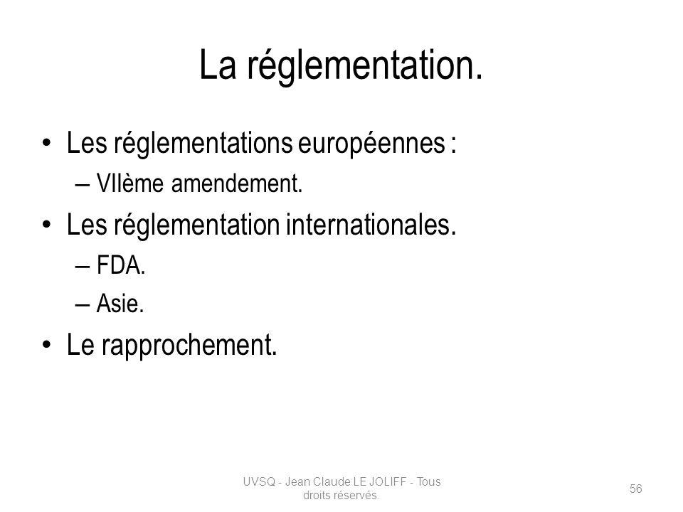 La réglementation. Les réglementations européennes : – VIIème amendement. Les réglementation internationales. – FDA. – Asie. Le rapprochement. UVSQ -