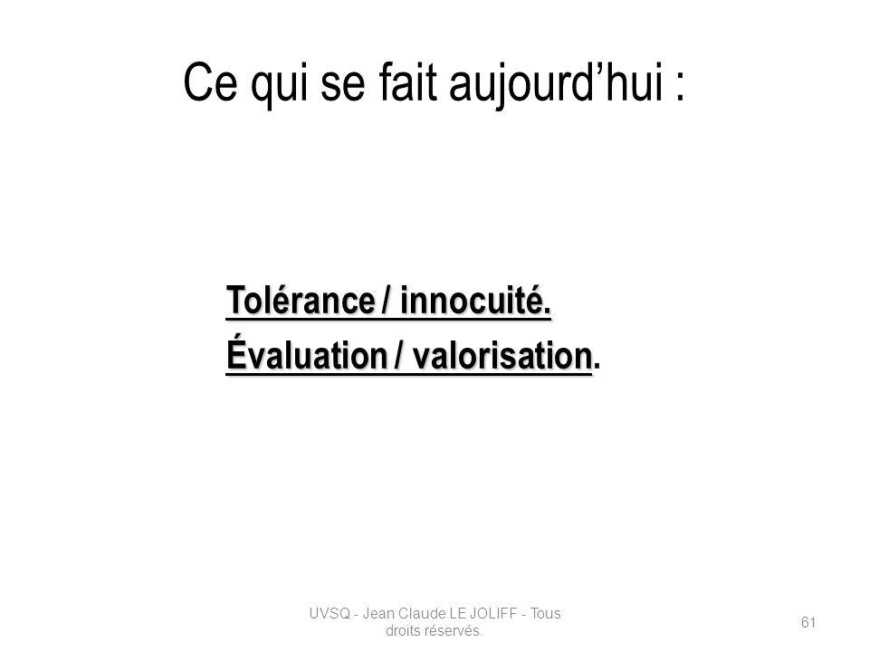 Ce qui se fait aujourdhui : Tolérance / innocuité. Évaluation / valorisation Évaluation / valorisation. UVSQ - Jean Claude LE JOLIFF - Tous droits rés