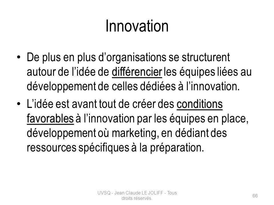 Innovation différencier De plus en plus dorganisations se structurent autour de lidée de différencier les équipes liées au développement de celles déd