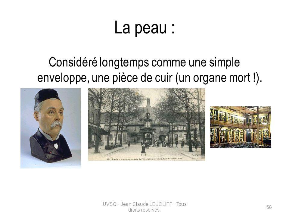 La peau : Considéré longtemps comme une simple enveloppe, une pièce de cuir (un organe mort !). UVSQ - Jean Claude LE JOLIFF - Tous droits réservés. 6