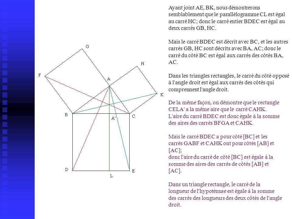 Ayant joint AE, BK, nous démontrerons semblablement que le parallélogramme CL est égal au carré HC; donc le carré entier BDEC est égal au deux carrés GB, HC.