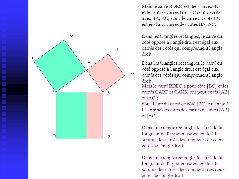 Mais le carré BDEC est décrit avec BC, et les autres carrés GB, HC sont décrits avec BA, AC; donc le carré du côté BC est égal aux carrés des côtés BA, AC.