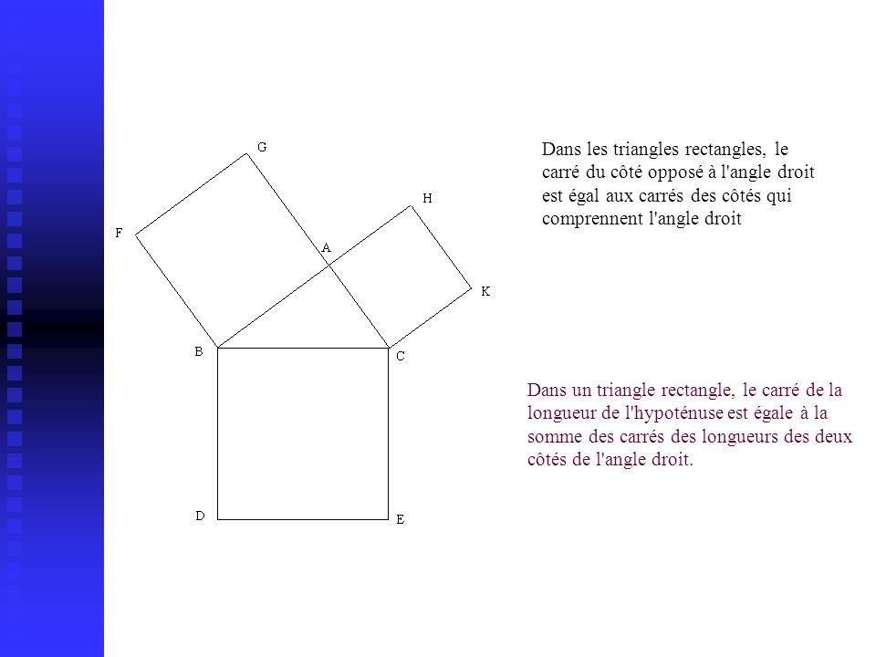 Dans les triangles rectangles, le carré du côté opposé à l angle droit est égal aux carrés des côtés qui comprennent l angle droit.