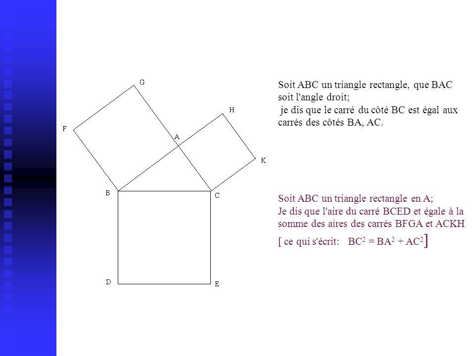 Soit ABC un triangle rectangle, que BAC soit l'angle droit; je dis que le carré du côté BC est égal aux carrés des côtés BA, AC. Soit ABC un triangle