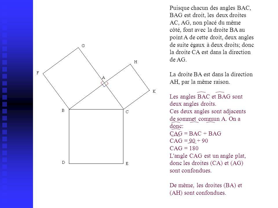Puisque chacun des angles BAC, BAG est droit, les deux droites AC, AG, non placé du même côté, font avec la droite BA au point A de cette droit, deux angles de suite égaux à deux droits; donc la droite CA est dans la direction de AG.