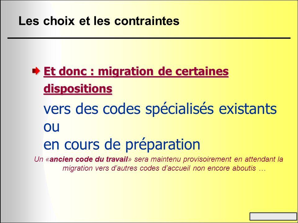 Les choix et les contraintes Et donc : migration de certaines dispositions vers des codes spécialisés existants ou en cours de préparation ancien code