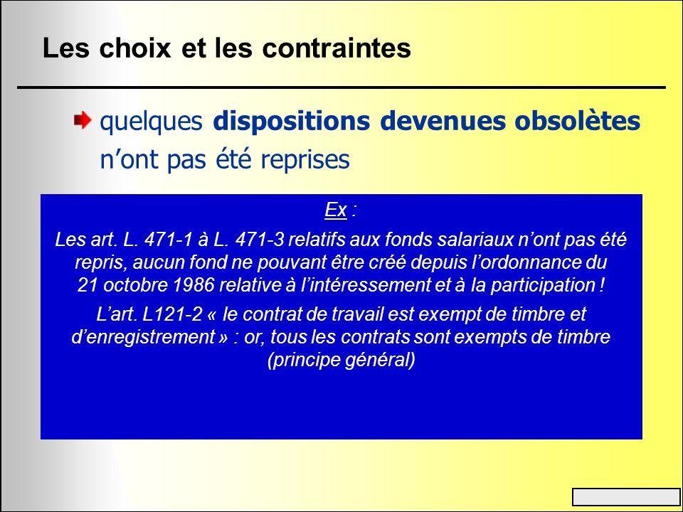 Les choix et les contraintes quelques dispositions devenues obsolètes nont pas été reprises Ex : Les art. L. 471-1 à L. 471-3 relatifs aux fonds salar