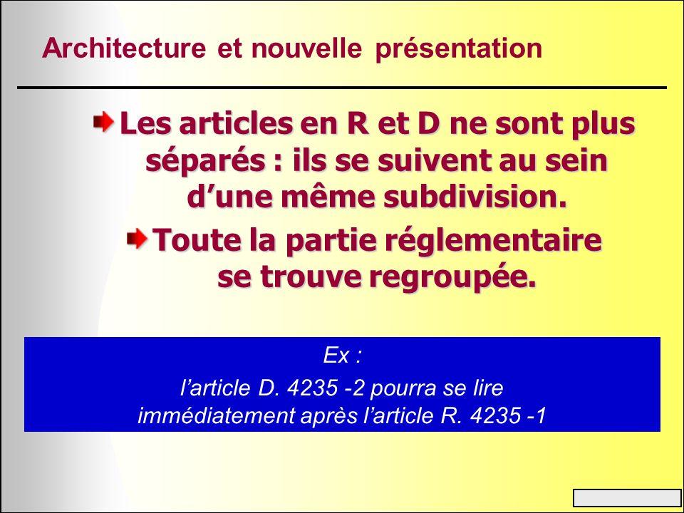 Architecture et nouvelle présentation Les articles en R et D ne sont plus séparés : ils se suivent au sein dune même subdivision. Toute la partie régl