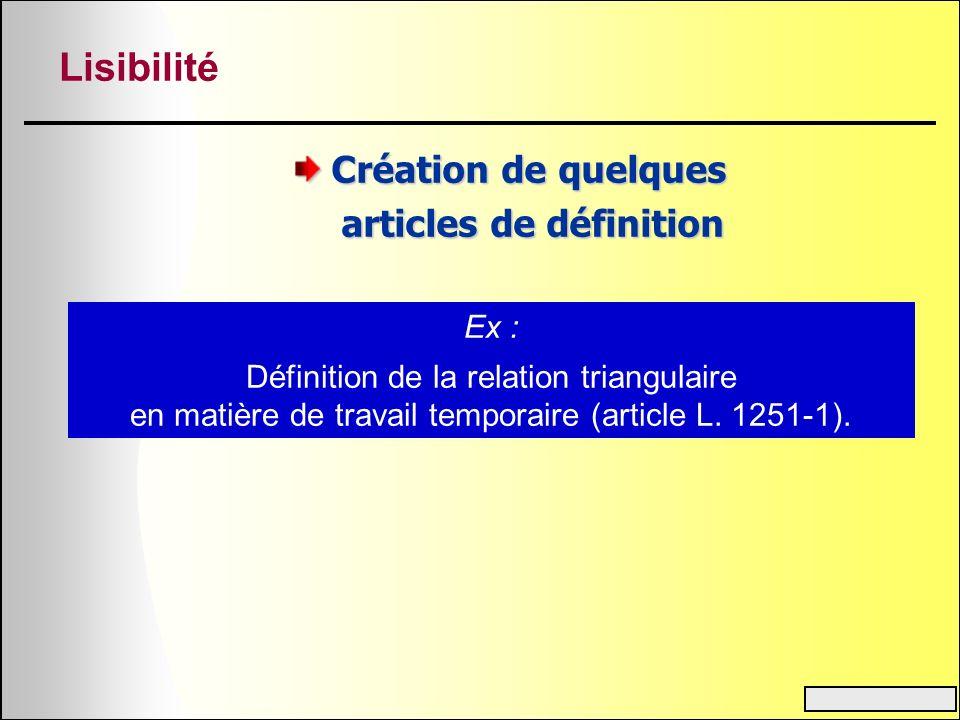 Lisibilité Création de quelques articles de définition articles de définition Ex : Définition de la relation triangulaire en matière de travail tempor