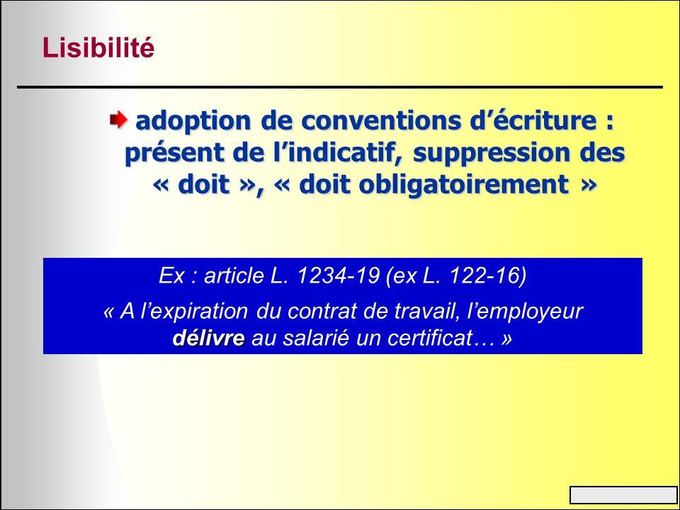 Lisibilité adoption de conventions décriture : présent de lindicatif, suppression des « doit », « doit obligatoirement » Ex : article L. 1234-19 (ex L