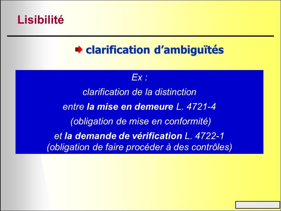 Lisibilité clarification dambiguïtés Ex : clarification de la distinction entre la mise en demeure L. 4721-4 (obligation de mise en conformité) et la
