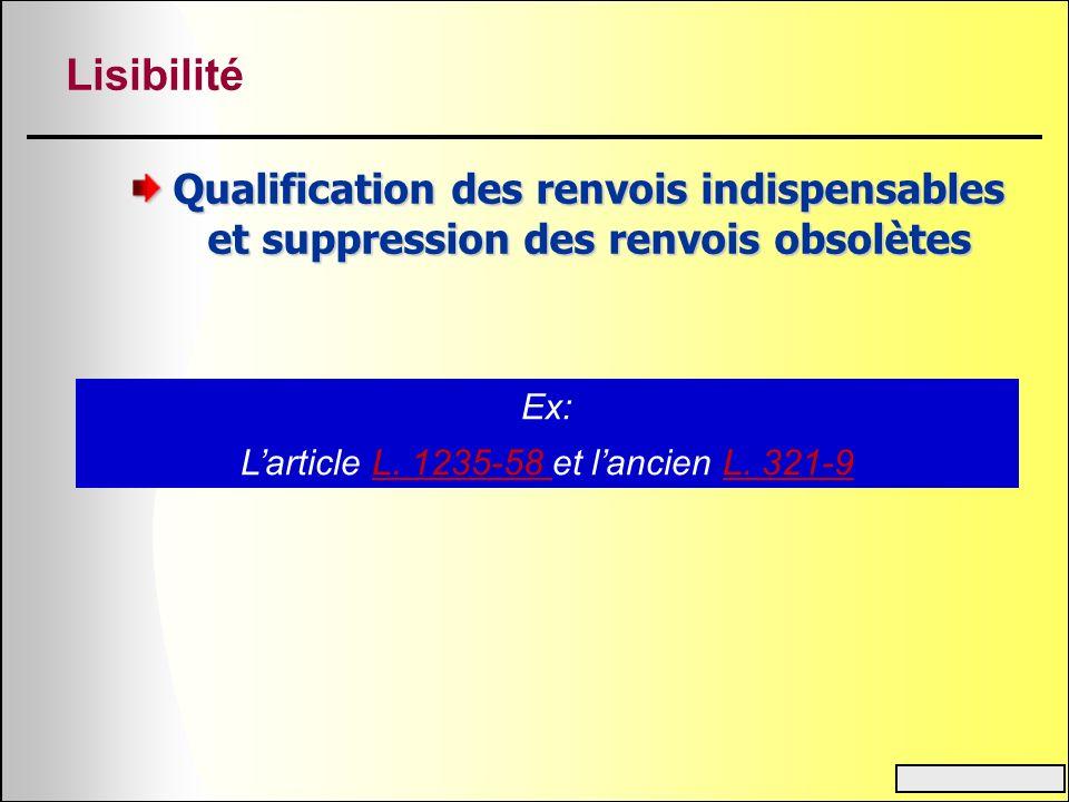 Lisibilité Qualification des renvois indispensables et suppression des renvois obsolètes Ex: Larticle L. 1235-58 et lancien L. 321-9L. 1235-58 L. 321-
