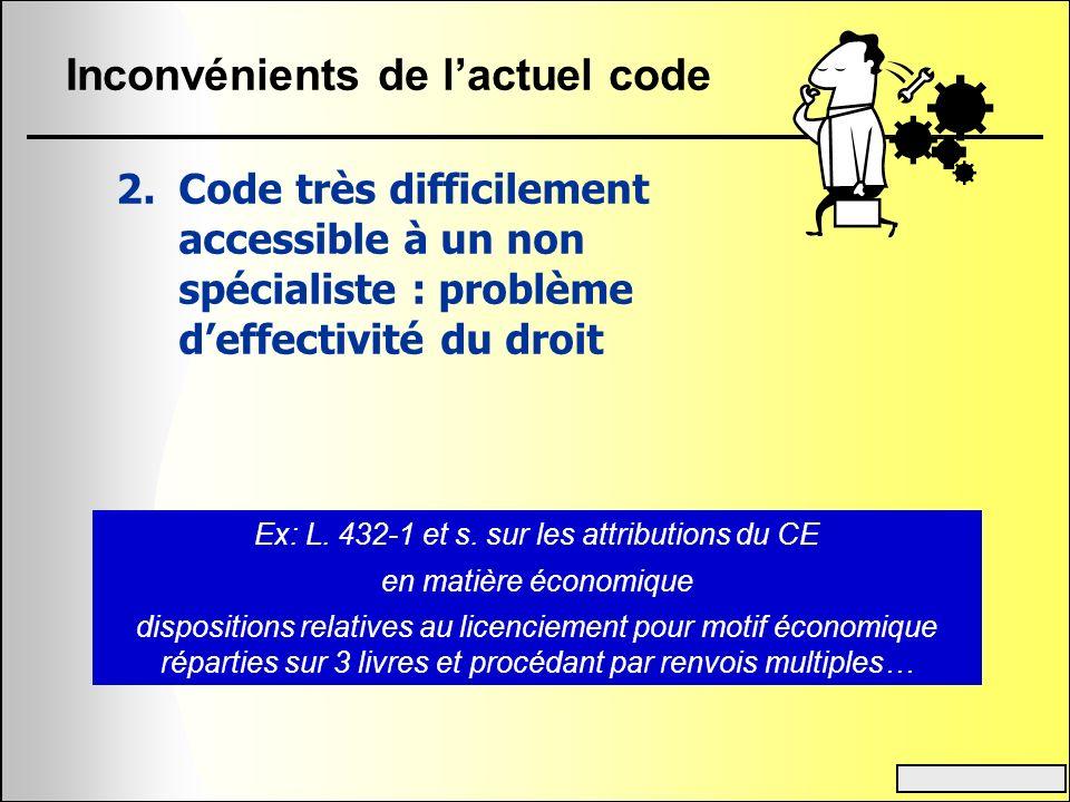 Inconvénients de lactuel code 2.Code très difficilement accessible à un non spécialiste : problème deffectivité du droit Ex: L. 432-1 et s. sur les at