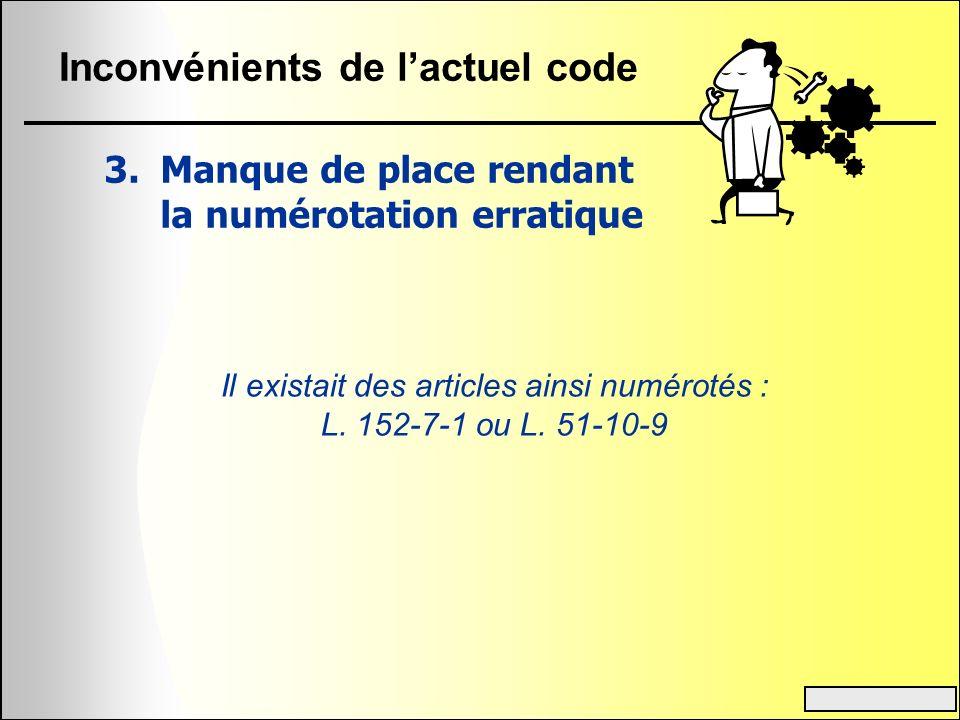 Inconvénients de lactuel code 3.Manque de place rendant la numérotation erratique Il existait des articles ainsi numérotés : L. 152-7-1 ou L. 51-10-9
