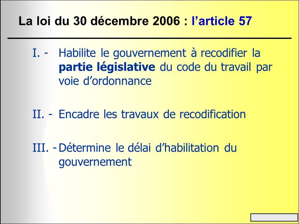 La loi du 30 décembre 2006 : larticle 57 I 1.Adapter les dispositions législatives du code du travail à droit constant 2.Codifier les dispositions législatives non codifiées 3.Améliorer le plan du code